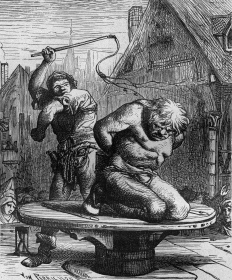 "Quasimodo is flogged, engraving by Von perrichon, illustration for book ""Notre-Dame de Paris"" by Victor Hugo, 1877"
